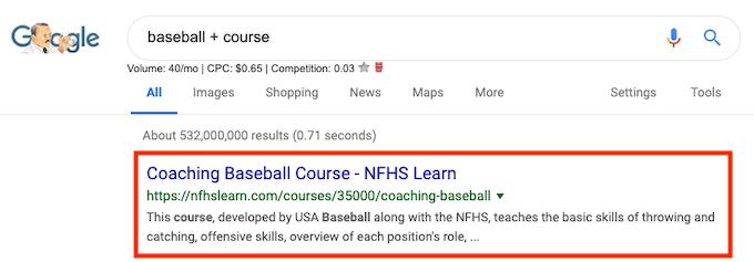 Baseball course