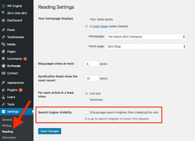 Wordpress - Search Engine Visibility