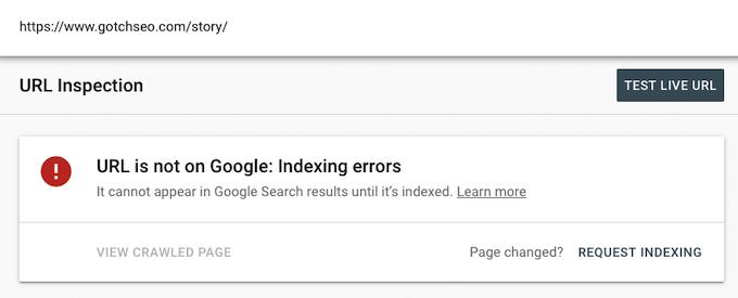 O URL não está no Google