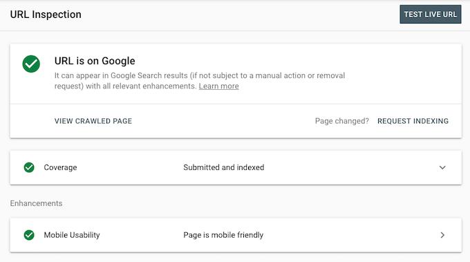 O URL está no Google
