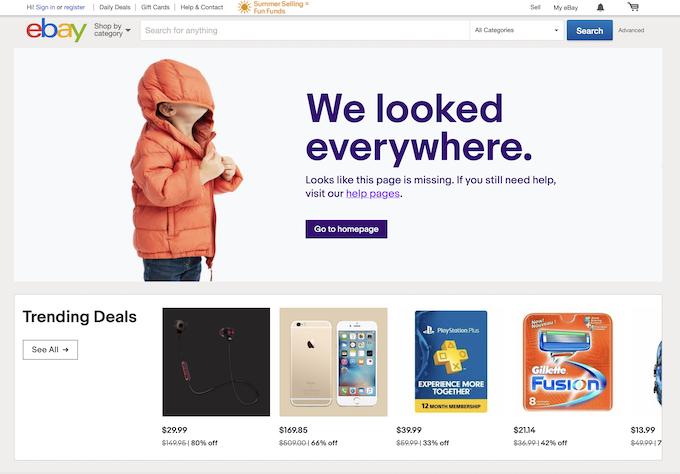 Página de erro do Ebay 404