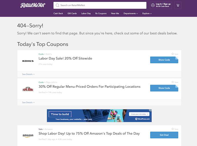 Retailmenot 404