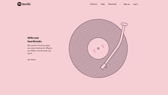 Spotify 404 page