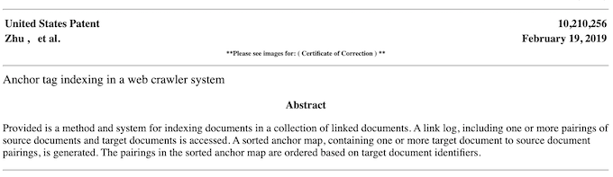 Google Anchor Text Patent