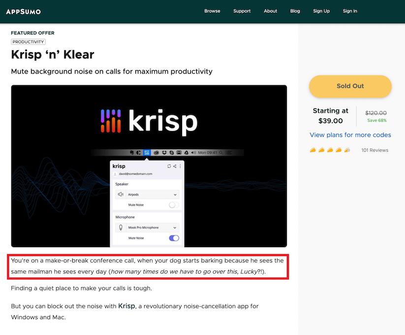 appsumo-krisp-example-product-description