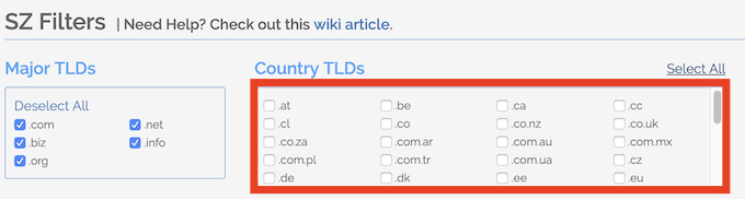 country TLDs spamzilla