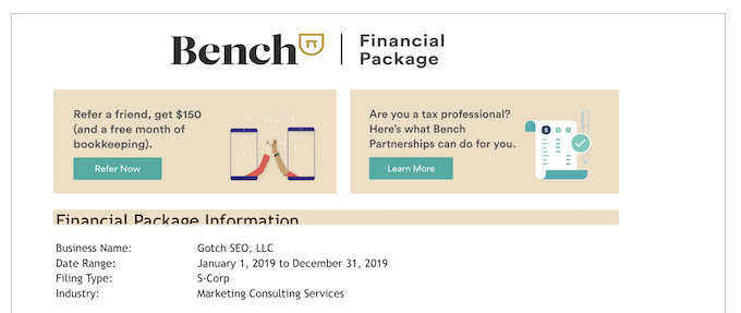Bench Year End Financial Package