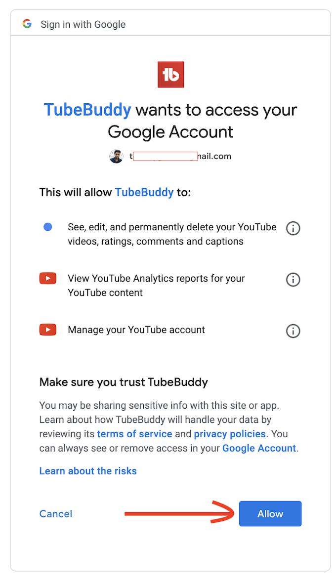 TubeBuddy allow